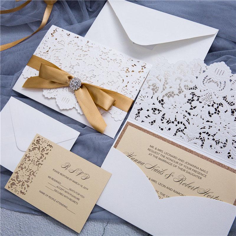 Wedding Invitations Laser Cut Paper: Graceful Pearl White Laser Cut